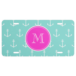 Mint Green White Anchors Hot Pink Monogram License Plate