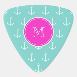 Mint Green White Anchors, Hot Pink Monogram Pick