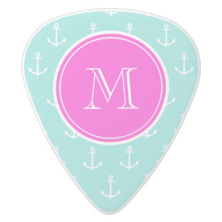 Mint Green White Anchors, Hot Pink Monogram White Delrin Guitar Pick