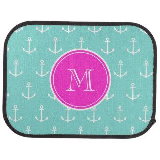 Mint Green White Anchors, Hot Pink Monogram Floor Mat