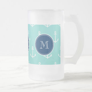 Mint Green White Anchors, Navy Blue Monogram Frosted Glass Beer Mug