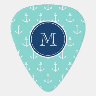 Mint Green White Anchors, Navy Blue Monogram Pick