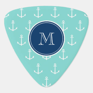 Mint Green White Anchors, Navy Blue Monogram Guitar Pick