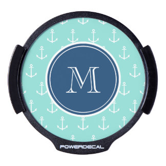 Mint Green White Anchors, Navy Blue Monogram LED Window Decal