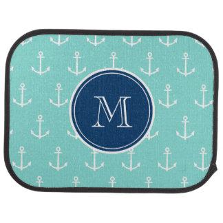 Mint Green White Anchors, Navy Blue Monogram Car Carpet