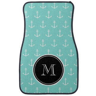 Mint Green White Anchors Pattern, Black Monogram Car Carpet
