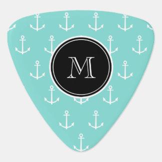 Mint Green White Anchors Pattern Black Monogram Guitar Pick