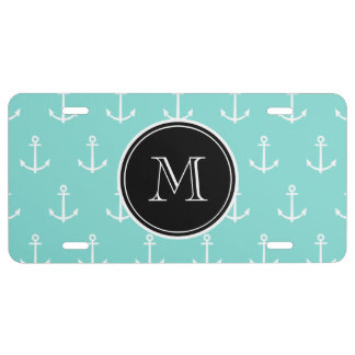Mint Green White Anchors Pattern, Black Monogram License Plate