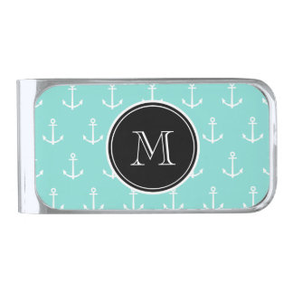 Mint Green White Anchors Pattern, Black Monogram Silver Finish Money Clip