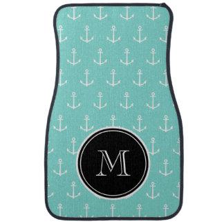 Mint Green White Anchors Pattern, Black Monogram Car Mat