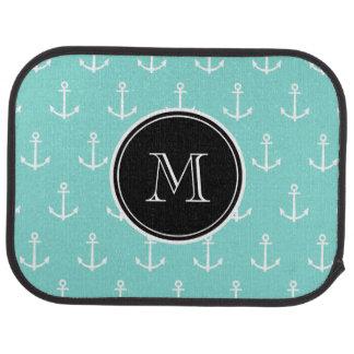 Mint Green White Anchors Pattern, Black Monogram Auto Mat