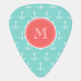 Mint Green White Anchors Pattern Coral Monogram Guitar Pick