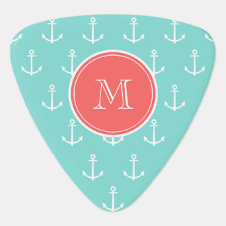 Mint Green White Anchors Pattern Coral Monogram Guitar Pick