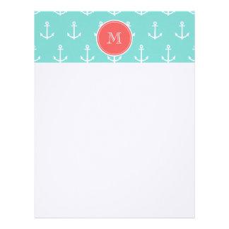 Mint Green White Anchors Pattern, Coral Monogram Letterhead Template