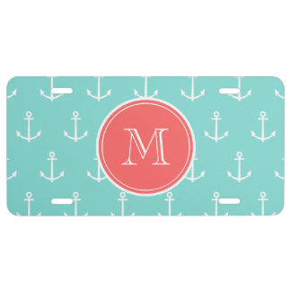 Mint Green White Anchors Pattern Coral Monogram License Plate