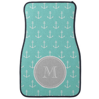 Mint Green White Anchors Pattern, Gray Monogram Car Liners