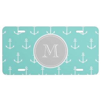 Mint Green White Anchors Pattern, Gray Monogram License Plate