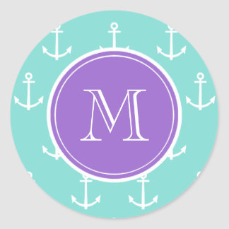 Mint Green White Anchors Pattern, Purple Monogram Round Sticker