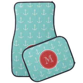 Mint Green White Anchors Pattern, Red Monogram Car Floor Carpet