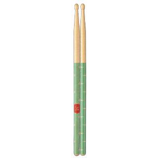 Mint Green White Anchors Pattern Red Monogram Drum Sticks