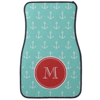 Mint Green White Anchors Pattern, Red Monogram Floor Mat