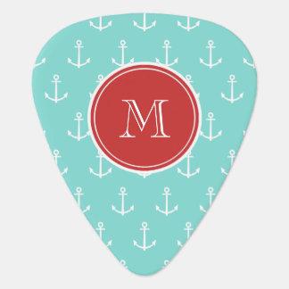 Mint Green White Anchors Pattern, Red Monogram Guitar Pick