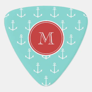 Mint Green White Anchors Pattern Red Monogram Guitar Pick