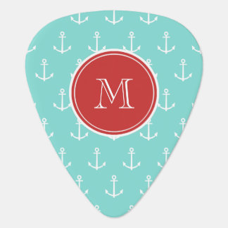 Mint Green White Anchors Pattern, Red Monogram Guitar Pick