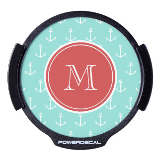 Mint Green White Anchors Pattern, Red Monogram LED Window Decal