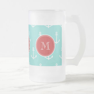 Mint Green White Anchors Pattern, Red Monogram Frosted Beer Mugs