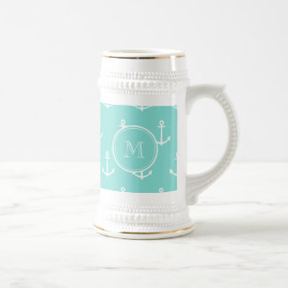 Mint Green White Anchors Pattern, Your Monogram 18 Oz Beer Stein