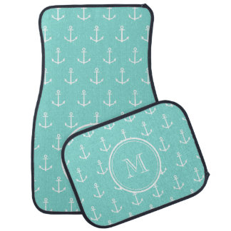 Mint Green White Anchors Pattern, Your Monogram Car Mat