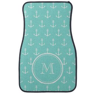 Mint Green White Anchors Pattern, Your Monogram Floor Mat
