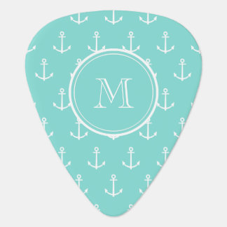 Mint Green White Anchors Pattern, Your Monogram Pick