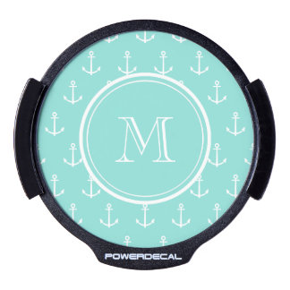 Mint Green White Anchors Pattern, Your Monogram LED Window Decal