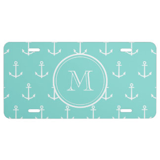 Mint Green White Anchors Pattern, Your Monogram License Plate