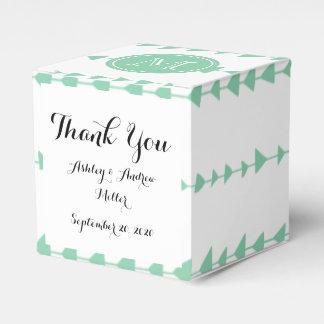 Mint Green White Aztec Arrows Monogram Wedding Favor Box