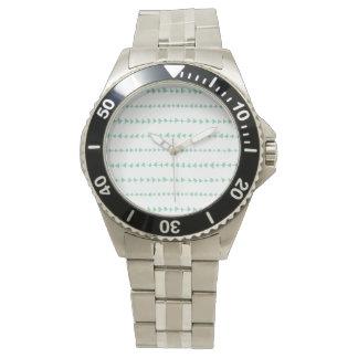 Mint Green White Aztec Arrows Pattern Watch