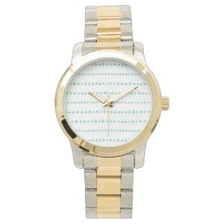 Mint Green White Aztec Arrows Pattern Wrist Watch