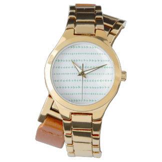 Mint Green White Aztec Arrows Pattern Wrist Watches
