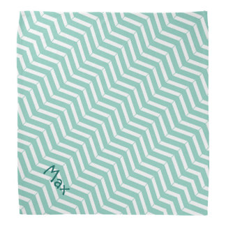Mint Green & White Chevron Dog Name Template Bandana