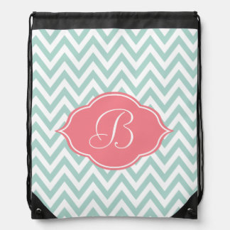 Mint Green White Chevron Light Pink Monogram Drawstring Bag