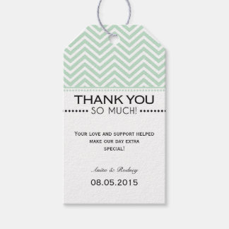Mint Green White Chevron Wedding Thank You Tags
