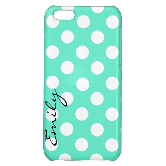 Mint Green & White Custom Polka Dot iPhone 5 Case