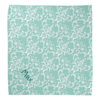 Mint Green & White Damask Pattern Dog Name Bandana