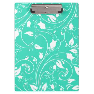 Mint Green, White Floral Swirls; Flowers Clipboard