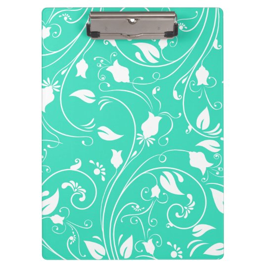 Mint Green, White Floral Swirls; Flowers Clipboard