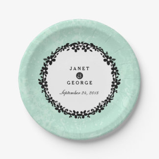 Mint Green & White Floral Wedding Plates