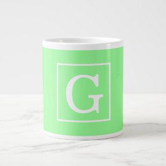 Mint Green White Framed Initial Monogram Jumbo Mug