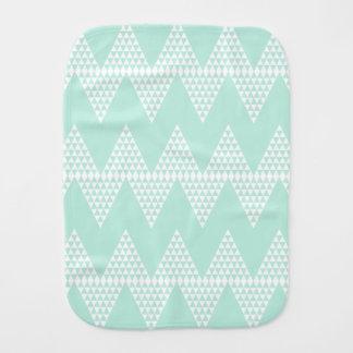 Mint Green White Geometric Chevron Pattern Baby Burp Cloths